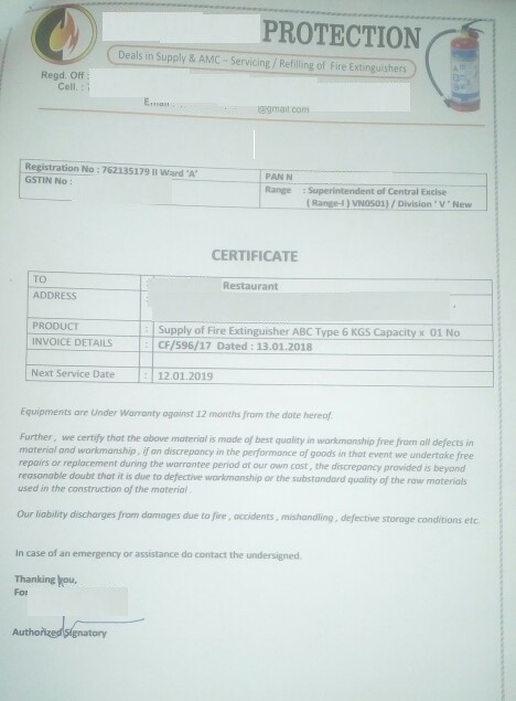 Fire Extinguisher certificate and requirements